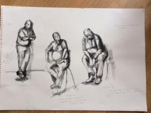 Portrait Class 18/09/14 Studies in Watersoluble Pen on A2 paper