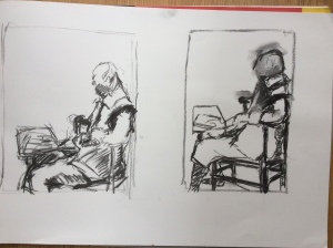 Chris Portrait Class 04/06/15 Preparatory charcoal sketches