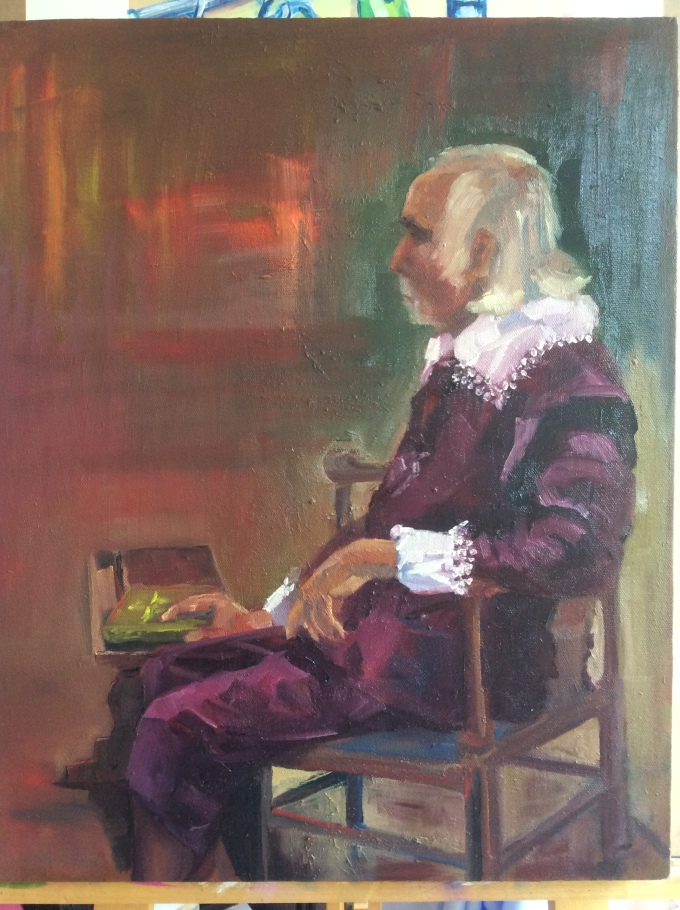 Chris (17th Century style costume) Portrait Class 04/06/15 Oil on canvas (acrylic ground) 40x50cm