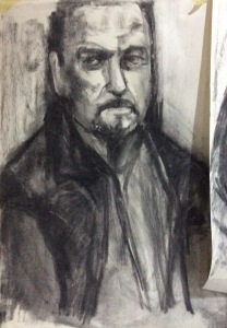Les - seated upright Approx A2 - Charcoal (Head and shoulder positioning)