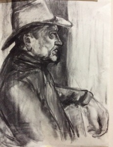Les - seated upright and sideways, with hat Approx A2 - Charcoal (Head and shoulder positioning)
