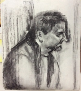 Les - seated, leaning forward. Approx A2 - Charcoal (Head and shoulder positioning)