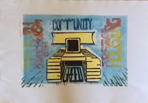 Series of combined mono and linocut prints - 6 of 9