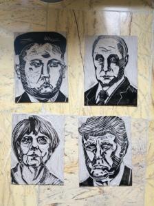 Portrait lino blocks inked after test prints
